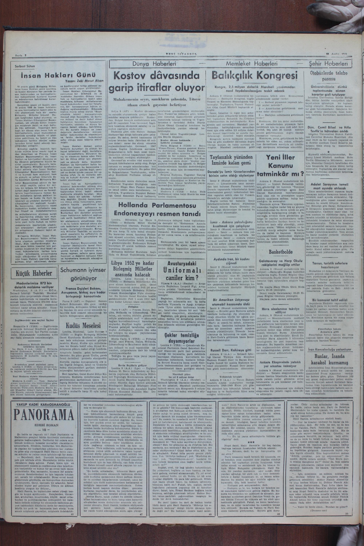 10 Aralık 1949 Tarihli Yeni İstanbul Gazetesi Sayfa 2