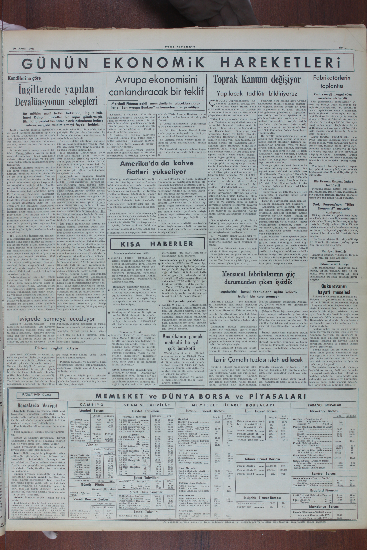 10 Aralık 1949 Tarihli Yeni İstanbul Gazetesi Sayfa 3