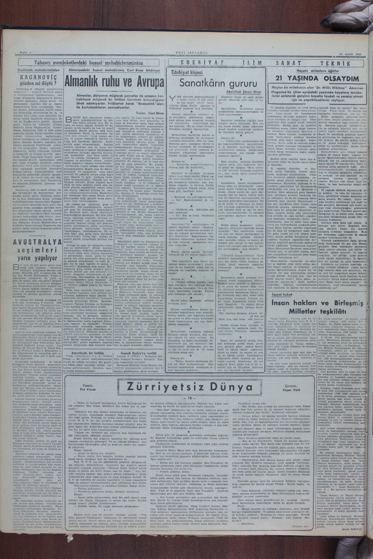 10 Aralık 1949 Tarihli Yeni İstanbul Gazetesi Sayfa 4