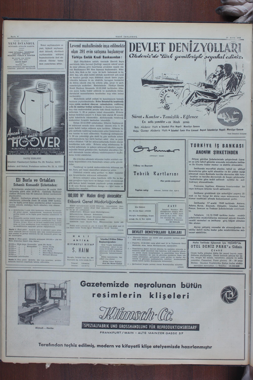 10 Aralık 1949 tarihli Yeni İstanbul Gazetesi Sayfa 6