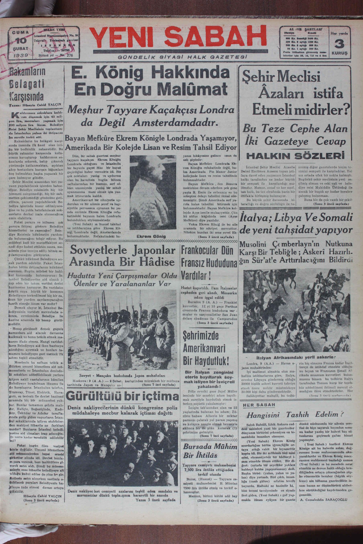 February 10, 1939 Tarihli Yeni Sabah Gazetesi Sayfa 1