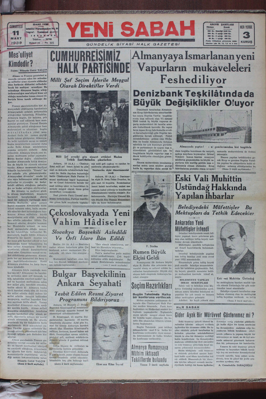 11 Mart 1939 Tarihli Yeni Sabah Gazetesi Sayfa 1