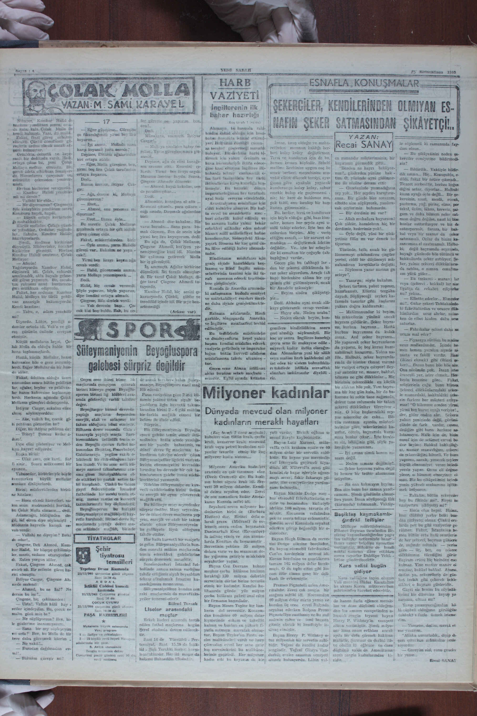 25 Aralık 1940 tarihli Yeni Sabah Gazetesi Sayfa 4