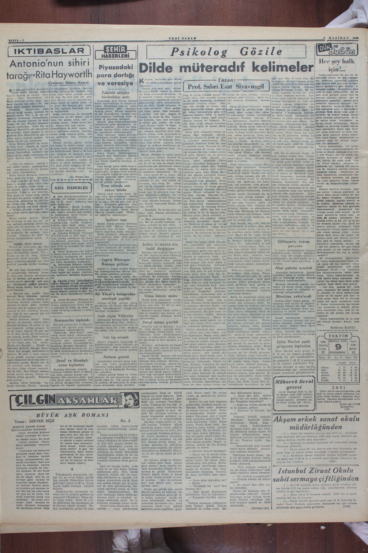 9 Haziran 1949 Tarihli Yeni Sabah Dergisi Sayfa 2