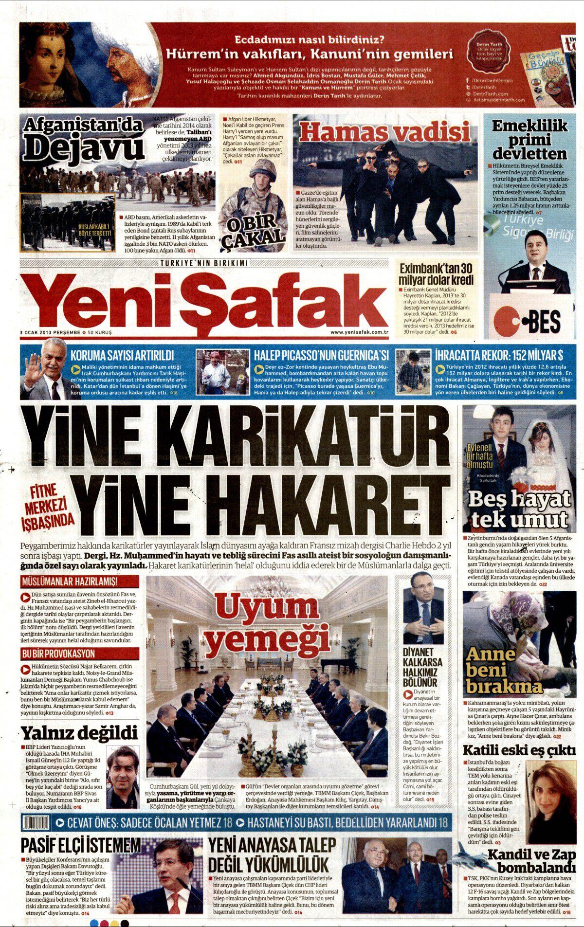 3 Ocak 2013 tarihli Yeni Şafak Gazetesi Sayfa 1