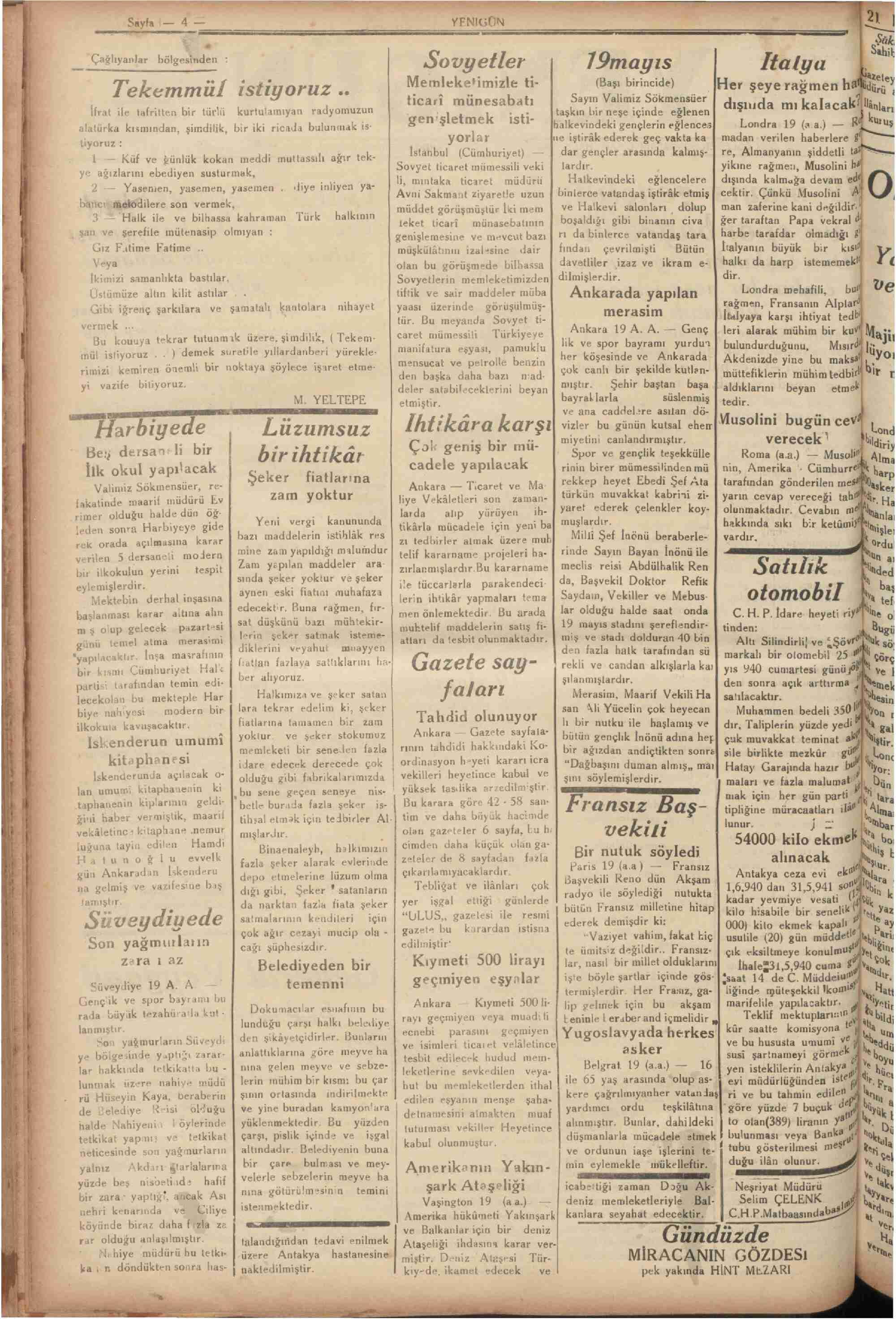 20 Mayıs 1940 tarihli Yenigün (Antakya) Gazetesi Sayfa 2