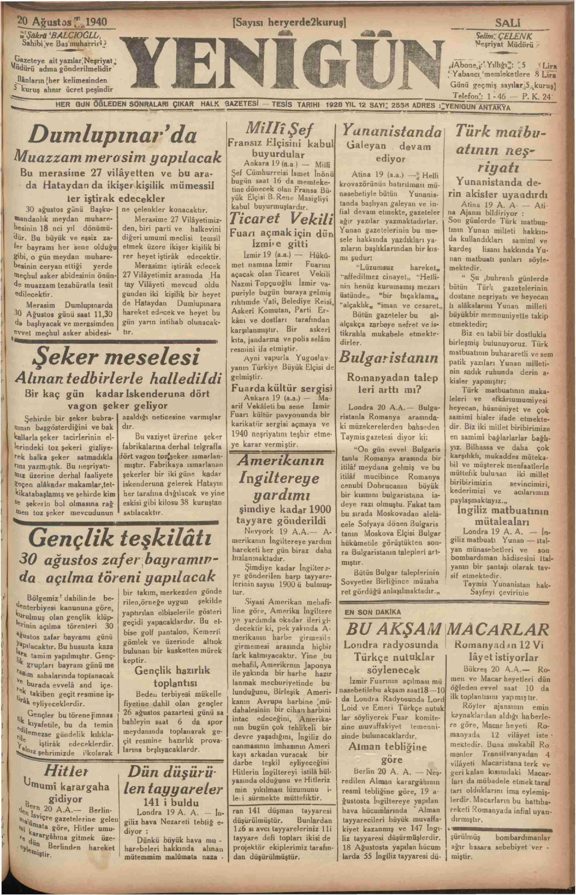 20 Ağustos 1940 tarihli Yenigün (Antakya) Gazetesi Sayfa 1