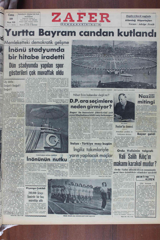 """JMemlekeMik gelişme İnönü stadyumda bir hitabe iradetti Dün stadyumda yapılan spor —:nlınıı:lhlı: nn'ı —ııııın""""ılı —'Jıı"""
