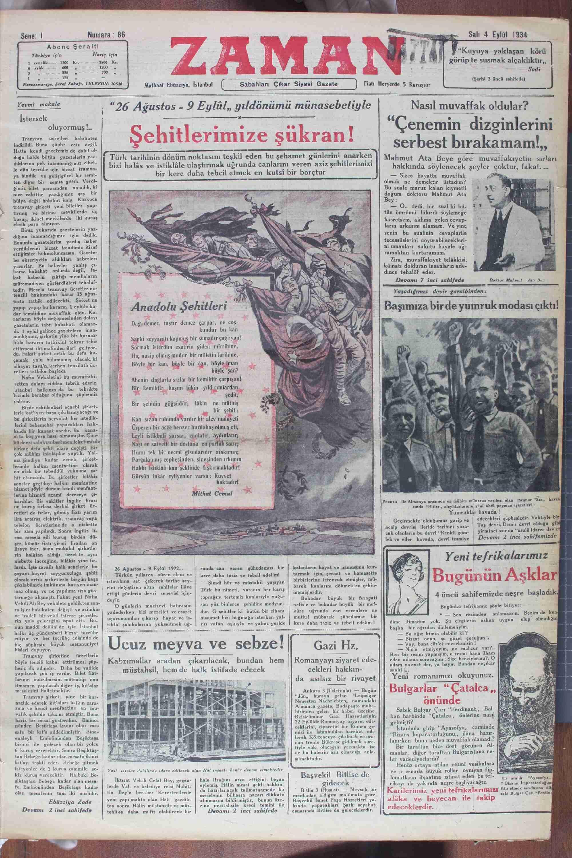 4 Eylül 1934 Tarihli Zaman Gazetesi Sayfa 1