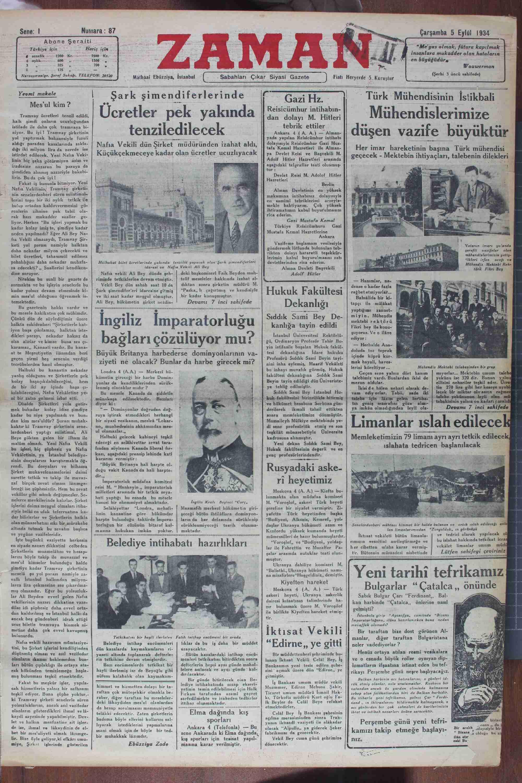 """Mes'ul kim ? Tenmray ücretleri tenzil edildi; """"Şark şimendiferlerinde Ücretler pek yakında tenziledilecek Nafıa Vekili dün Şirket müdüründen izahat aldı, Küçükçekmeceye kadar olan ücretler ucuzlıyacak Türk Mühendisinin İstikbali — Mühendislerimize düşen vazife büyüktü—rğ Gazi Hz. Reisicümhur intihabın- dan dolayı M. Hitleri tebrik ettiler Ankara 4 (ALA) — Al yada yapılan Relsicümhur intihabı"""