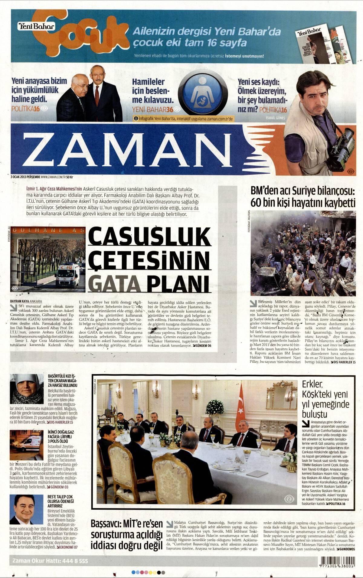 3 Ocak 2013 tarihli Zaman Gazetesi Sayfa 1
