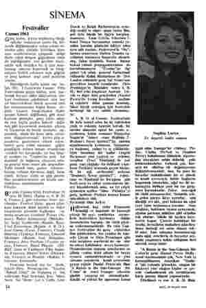 SİNEMA Festivaller Cannes 1961 Genç kadın, kıyıya toplanmış fotoğ- rafçılar ordusunun sanki hiç far- kında değilmişcesine...