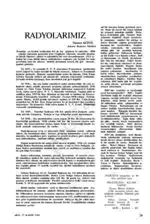 RADYOLARIMIZ Nusret ALTUĞ Ankara Radyosu Müdürü İnsanlığa en faydalı icadlardan biri de hiç şüphesiz ki radyodur. 1896...