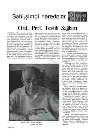 """Sahi,şimdi neredeler Ord. Prof. Tevfik Sağlam Pp"""" yılının Mayıs ayında başlıyan D. vri, bu memlekete açtığı ve acısını hâlâ"""