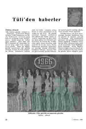 """Tüli'den haberler Politika sökmedi 1966 Türkiye güzellik kraliçesi se- çimlerinde, """"evvel zaman Bakan- larından"""" Celâl..."""