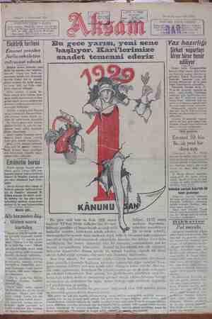 Akşam Gazetesi 1 Ocak 1929 kapağı