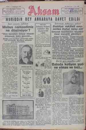 Akşam Gazetesi 11 Ocak 1929 kapağı