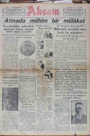 Akşam Gazetesi 15 Ocak 1929 kapağı