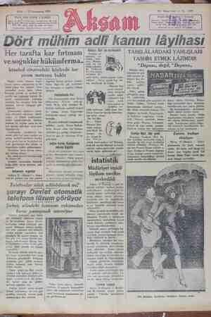 Akşam Gazetesi 22 Ocak 1929 kapağı