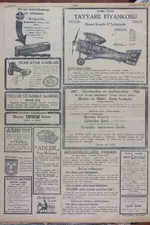 "ç- z 28 Kânunusati 1929 —| Saifhe 8 ü ee L d -- - "" En iyi müstahzarat. va bilbassa HAgED RClR Eİ/ ""Aspirin, Komprimalori —"