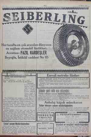 PY M V AT LA RTERR AM P AAA LA üD S PS N . G SİKHAAL Akşam 12 Ağustos 1929 Her tarafta en çok aranılan dünyanın en sağlam