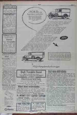 21 Ağustos 1929 Seyrısefaın en — Acentası: — Galata xnw başında. Beyoğlu 2362. Şube Acentasi: Mahmudiye Hanı ati İstanbul...
