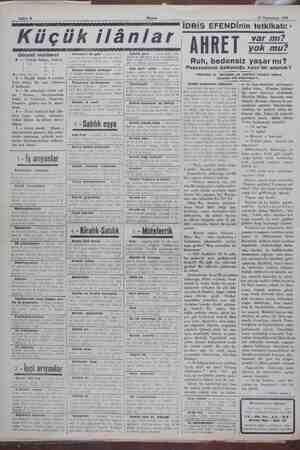 n ll Sahife 8 | Küçük Akşam lânlar 15 Teşrinisani 1929 (İDRİS EFENDİnin tetkikatı: * / var mı? at koşusu mahallirde 20...