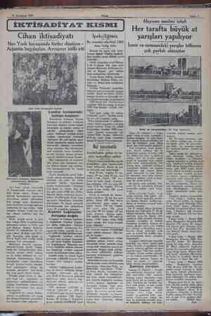 Cihan iktisadiyatı Nev York borsasında fiatler düşüyor - Ar)antın bugdayları Avrupayı istilâ etti Standard eshamını...