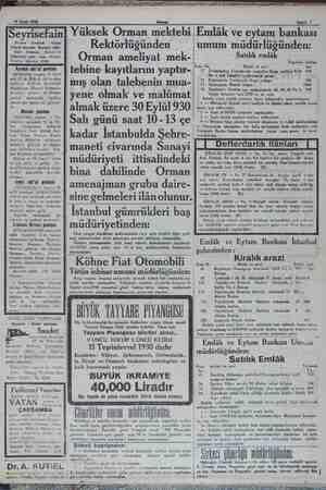 29 Eylül 1930 Sahife 7 ri . Seyrisefain Me: Galata zade hanı altında. ami geni 2140. Ayvalık sür'at postası mezkür...