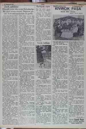 """pm 15 Teşrinievvel 1931 """"Tarih sahifeleri Düzenli cariye alış verişi; Kabadayılar. Bir cinai roman zemini. Dağıstan gü..."""