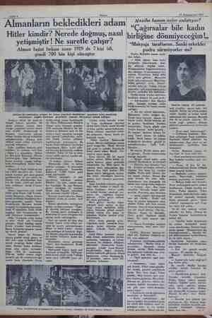 KN Sahife 6 . Akşam, 15 Kânunuevvel 1931 — Almanların bekledikleri adam Hitler kimdir? Nerede doğmuş, nasıl yetişmiştir! Ne