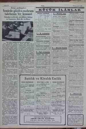 Sahife 10 Akşam 30 Kânunusani 1932 Izmir mektupları İzmirde gözden mahrum talebenin bir konseri Gözden mahrum çocuklara...