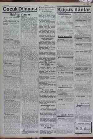 """Sahife 10 Akşam 9 Mart 1932 Çocuk Dünyası Hediye alanlar 18 Şubat tarihli bilmecemizin halli şu idi """"Bu seneki resim  ser-"""