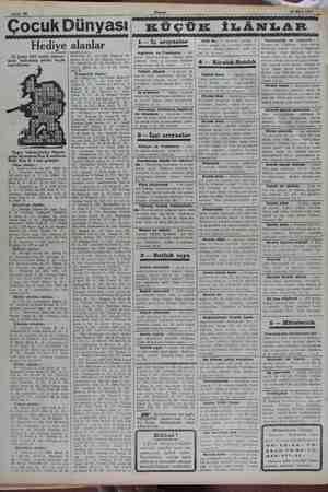 ife 10 Çocuk Dünyası Hediye 25 Şubat 1932 tarihli bilmece- mizin halledilmiş şeklini bugün neşrediyoruz. hu Bi ANN...