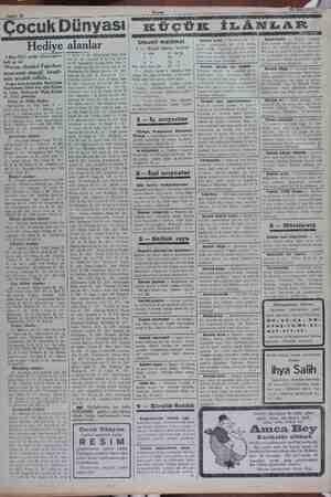 """Sahife 10 Çocuk Dünyası Hediye 3 Mart 1932 tarihli bilmecemizin halli şu idi: z """"Parası olanlar! Fakirlere muavenet etmeği"""