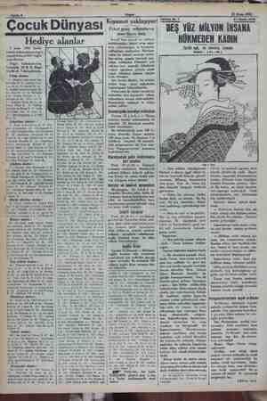 ; i 2 . ; i MA a yer e Sahife 8. Akşam 21 Nisan 1932 Çocuk Dünyas Hediye alanlar 7 nisan 1932 tarihli resimli bulmacamızın
