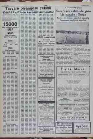 Sahife 10 S Akşam aramam 13 Mayıs 1932 w RR. e. — Tayyare piyangosu çekildi Dünhü keşidede kazanan numaralar (Tayyare...