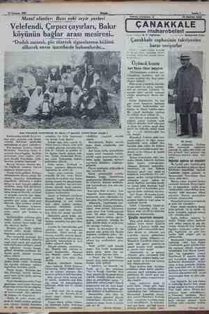 ». 12 Haziran 1932 : Akşam i Sahife 7 - Masal olanlar: Bazı eski seyir yerleri Velefendi, Çırpıcı çayırları, Bakır köyünü
