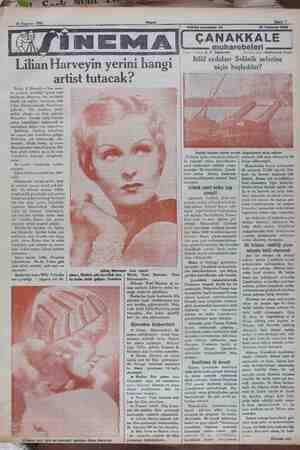 m Lilian Harveyin yerini h ngi artist tutacak? Berlin, 8 (Hususi) — Son sene- ler zarfında çevirdiği operet sesli filimlerile