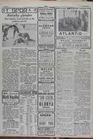22 Eylül 1932... GIT SPORA Alaturka güreşler Dün Taksim stadyomunda on iki pehlivan güreşti .. i Dünkü güreşlerden bir...