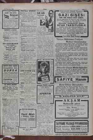 19 Teşmisani 1932. Akşam Sabife V HantalZade © vapurları Ayvalık - izmir postası Seyyari yapar 20 aşrnisani PAZAT saat 17