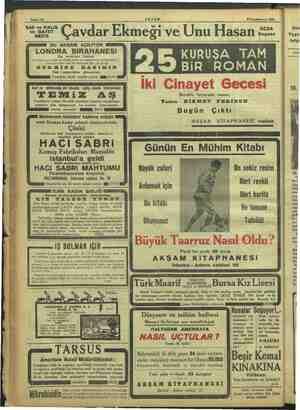 """SER çe Sahife 16 AKŞAM $ Teşrinievvel 1933 gesi — e. ser"""" Cavdar Ekmeği ve Unu Hasan iz. NE KURUŞA TAM BIR ROMAN ...."""