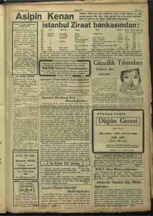 e $ Teşrinisani 1933 Asipin Kenan AKŞAM madalya Sahife 15 Tabletleri: Paris, izmir, Bari sergilerinde birinci derece...