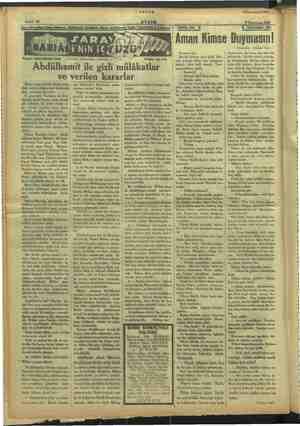 I ç tf ç he 1 Sahife 10 a Yazan: SULEYMAN KANI m Abdülhamit ile gizli mülâkatlar — Tercüme, iktibas hakkı mahfuzd Tetfrika