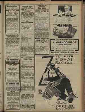 ı ap 18 Mart 1934 Sahite ii Deniz yolları İŞLETMESİ Acenteleri: Karaköy - Köprübaşı 'Tel, 42362 — Sirkeci Mühürdarzade Tek