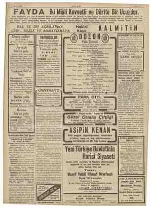 ŞAN RE 31 Mayıs 1934 AKŞAM Sahife 15 FAYDA iki Misli Kuvvetli ve Dörtte Bir Ucuzdur. Sinek, tahtakurusu, pire, güve ile...