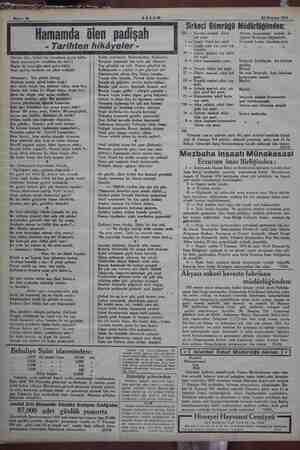 Sahife 10 AKŞAM 24 Haziran 1934 Hamamda ölen padişah - Tarihten hikâyeler - Sirkeci Gümrüğü Müdürlüğünden: 232 — Novoris