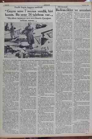 """Sahife 6 AKŞAM 15 Eylül 1934 Vecihi beyin tayyare mektebi """"Geçen sene 7 mezun verdik, biri hanım. Bu sene 24 talebem var..,,"""
