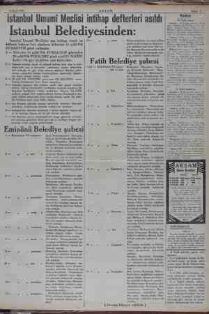 RR mm aa 16 Eylül 1934 z > — i AKŞAM - — ii 9 istanbul Umumi Meclisi intihap defterleri asıldı |, <5. Istanbul Belediyesi...