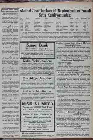 20 Eylül 1934 Sahife 13 (kn) istanbul Ziraat bankası ist. Gayrimubadiller Emvali Satış Komisyonundan: Harp Akademisi...